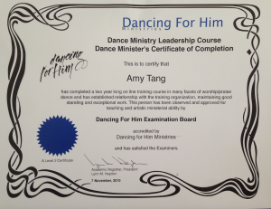 dance ministry certificate