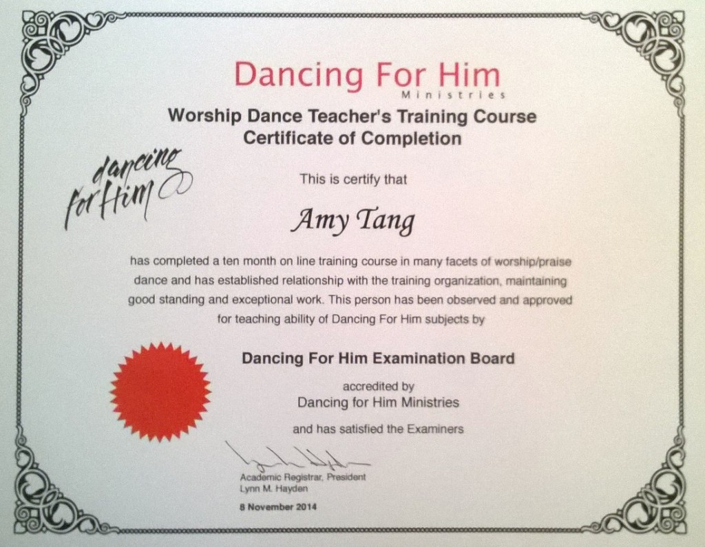 Worship Dance Teachers Certificate